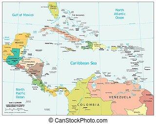 américa central, caribe, mapa