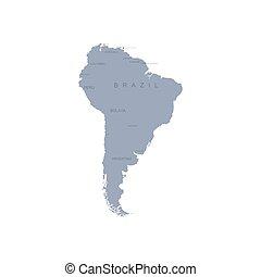américa, central, sur, mapa, vector, gráfico