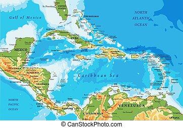 América Central y mapa físico de las islas Caribeñas