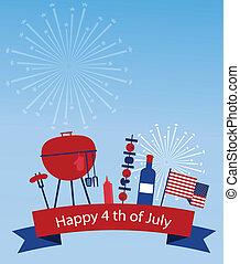 américa, día, independencia, feliz