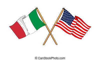 América e Italia alianza y amistad