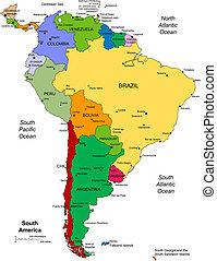 américa, editable, sur, países