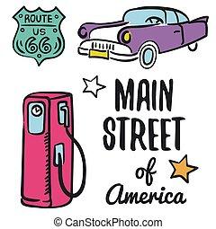 américa, ilustración, calle, plano de fondo, blanco, principal