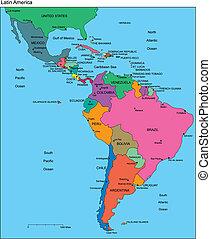 América Latina con países editables, nombres