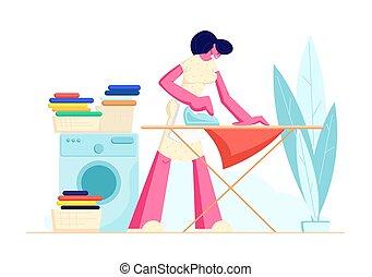 Ama de casa planchando lino claro en casa. Mujer joven todos los días rutina doméstica, lavando ropa en la máquina y el hierro a bordo. Limpieza de carácter femenino en casa. Ilustración de vectores planos del cartón