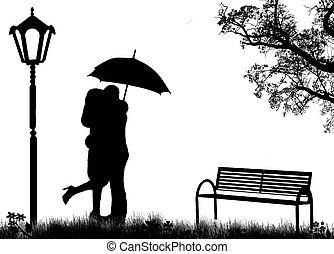 Amantes abrazados
