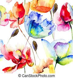amapola, flores, seamless, papel pintado, tulipanes