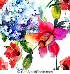 amapola, patrón, flores, seamless, hydrangea, hermoso