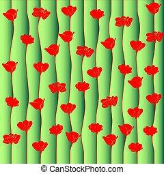 amapola, rojo, flowers., plano de fondo