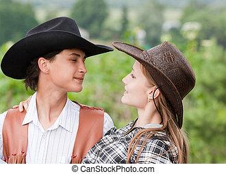 Amar a la pareja con estilo de retro