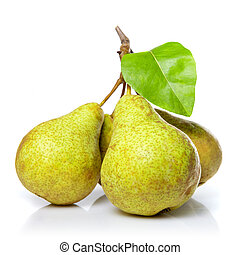 amarillo, blanco, hoja, aislado, peras