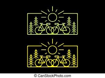 amarillo, ilustración, oscuridad, bicicleta, camino, plano de fondo, verde, naturaleza