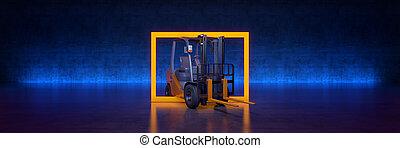 amarillo, interpretación, 3d, negro, camión de elevador de carga, fondo., marco