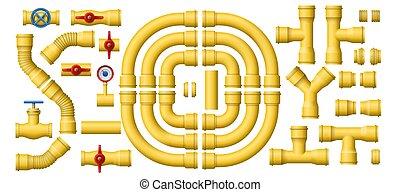 amarillo, sección, tubería, gas, vector, metal, conjunto, pipes., industrial, tubo, kit, construcción, tuberías, tubos