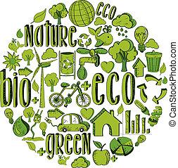 ambiental, círculo, verde, iconos