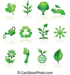 ambiental, verde, iconos