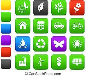 ambiente, elementos, conjunto, icono