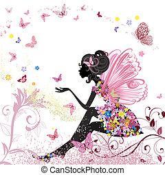 ambiente, mariposas, flor, hada