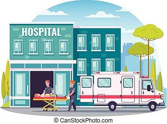 ambulancia, concepto, caricatura, paramédico