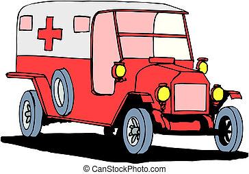 Ambulancia en un fondo blanco