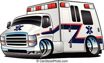 ambulancia, vector, camión, caricatura, ilustración, paramédico, aislado, rescate, blanco