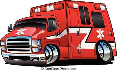 ambulancia, vector, camión, caricatura, rojo, ilustración, paramédico, aislado, rescate, emt