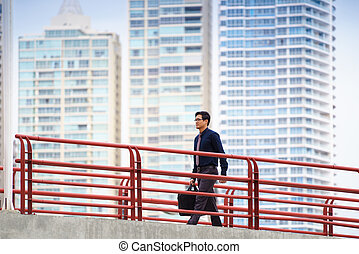 ambulante, chino, trabajo de la oficina, trabajador, asiático, el conmutar