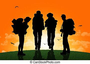 ambulante, grupo, mochileros, cima, ocaso, colina