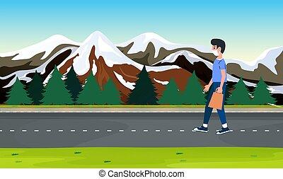 ambulante, montañas, niño, camino