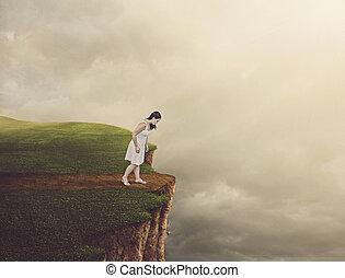 ambulante, mujer, cliff.