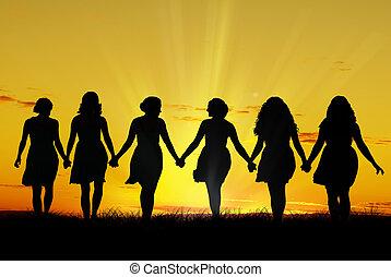 ambulante, mujeres, mano