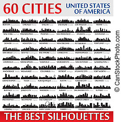 ameri, increíble, estados, siluetas, unido, set., contorno, ciudad