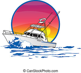 amigo, sportfisher, barco