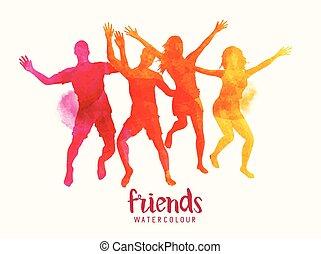 Amigos de acuarela saltando juntos