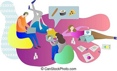 Amigos estudiantes pasando el rato juntos en línea mientras que acostados en el suelo en interiores. Una escena conceptual de la vida universitaria con hombres y mujeres relajando y usando aparatos.