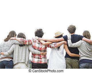amigos, grupo, trasero, abrazar, vista
