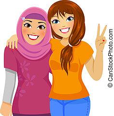 Amigos musulmanes y caucásicos