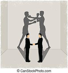 Amigos proyectando sombra de enemistad