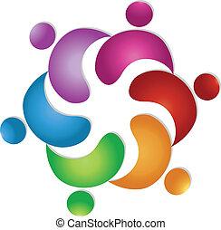 Amistad de trabajo en equipo 6 personas logotipo