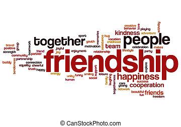 amistad, palabra, nube