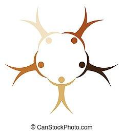 amistad, símbolo, manos, paz, mundo, gente, unificación, tenencia, carreras, círculo, naciones, concepto, diferente, vector, señal, pueblos
