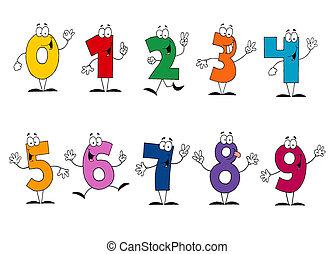 amistoso, caricatura, números, conjunto