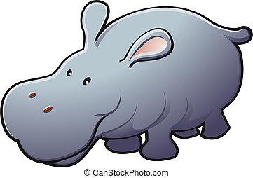 amistoso, ilustración, lindo, hipopótamo, vector