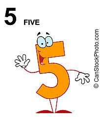 amistoso, número, naranja, 5