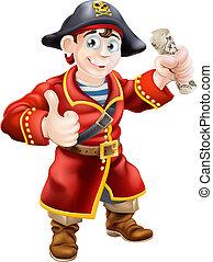 Amistoso pirata y mapa del tesoro
