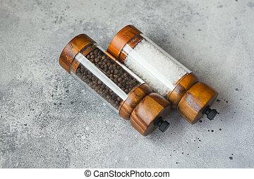 amoladora, conjunto, sal, de madera, pimienta