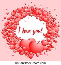 amor, círculo, pequeño, volumétrico, aviador, hearts., inscripción, usted, bandera, ilustración, manuscrito, hermoso