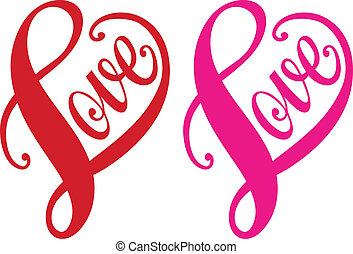 Amor, corazón rojo, vector