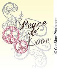 Amor de paz con patrón de pergamino