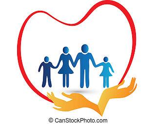 Amor familiar protegido por logotipo de manos